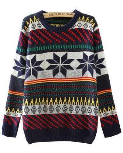 Navy Long Sleeve Snowflake Tribal Pattern Sweater