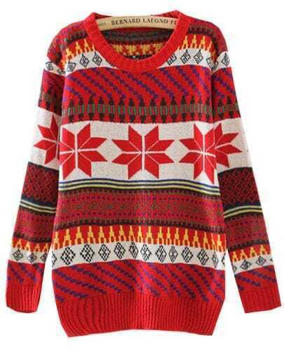 Red Long Sleeve Snowflake Tribal Pattern Sweater
