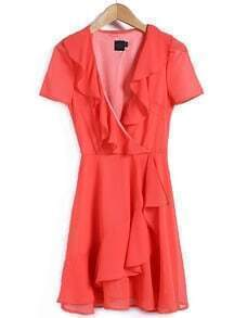 Red V Neck Short Sleeve Ruffle Dress