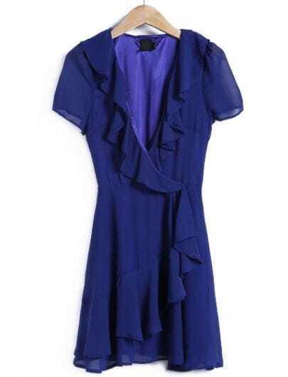 Blue V Neck Short Sleeve Ruffle Dress