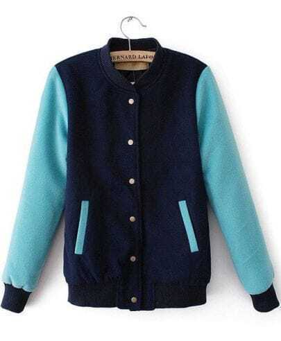 Navy Contrast Blue Long Sleeve Pockets Jacket