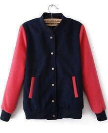 Navy Contrast Red Long Sleeve Pockets Jacket
