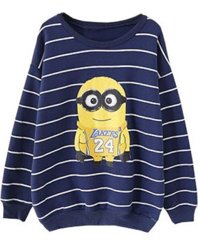 Navy Striped Despicable Me Print Sweatshirt