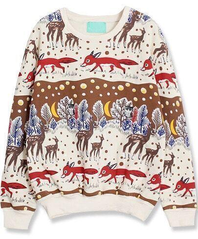 Beige Long Sleeve Deer Print Loose Sweatshirt