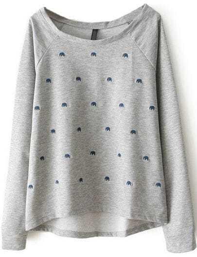 Grey Long Sleeve Elephant Embroidery Sweatshirt