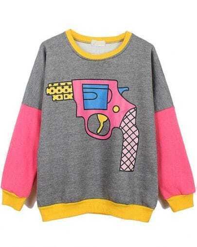 Grey Long Sleeve Contrast Trims Gun Print Sweatshirt