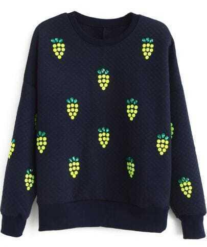 Navy Long Sleeve Rhinestone Grapes Pattern Sweatshirt