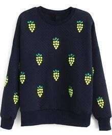 Navy Long Sleeve Rhinestone Grapes Pattern Sweatshirt
