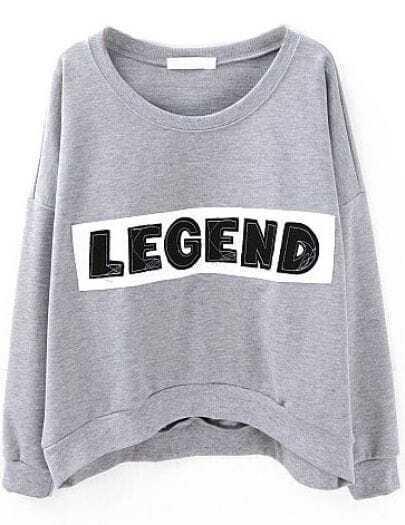 Grey Long Sleeve LEGEND Print Crop Sweatshirt