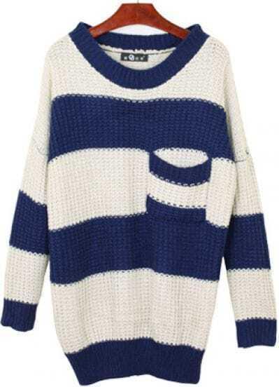 Blue Long Sleeve Stripe Pocket Loose Sweater