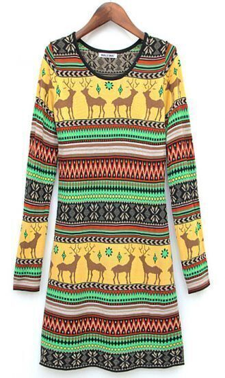 Yellow Long Sleeve Deer Pattern Sweater Dress