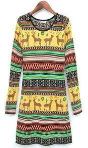 Yellow Long Sleeve Deer Pattern Sweater Dress