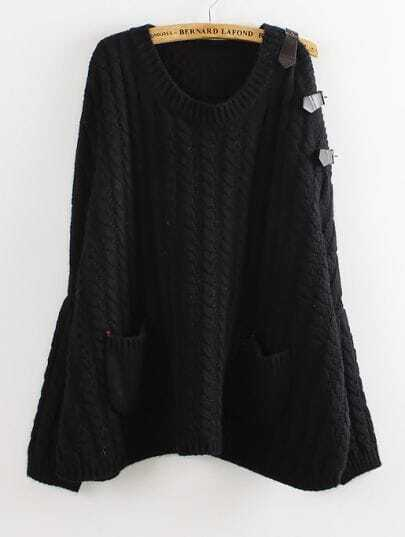 Black Batwing Sleeve Leather Pockets Cable Knit Sweater