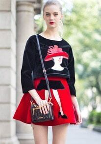 Black Long Sleeve Woman Embroidered Top With Red Skirt