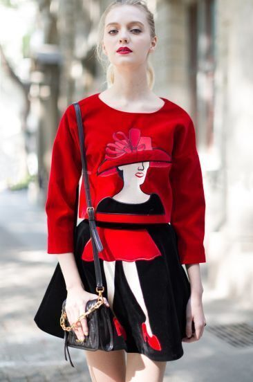 Red Long Sleeve Woman Embroidered Top With Black Skirt