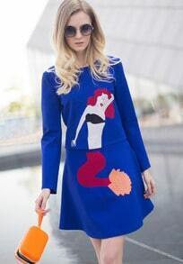 Blue Long Sleeve Mermaid Embroidered Top With Skirt
