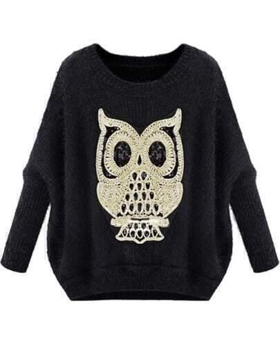 Black Long Sleeve Owl Pattern Mohair Sweater
