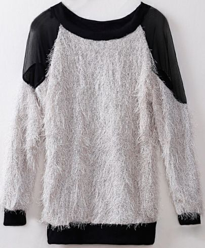Grey Batwing Sleeve Contrast Mesh Yoke Backless Sweater