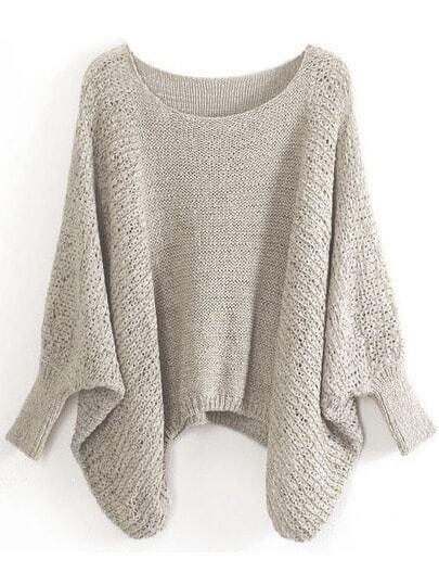 Khaki Batwing Sleeve Hollow Loose Sweater