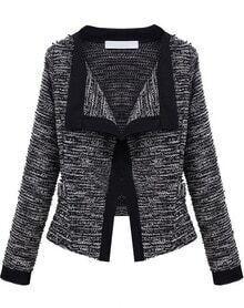 Black Long Sleeve Knit Crop Cardigan