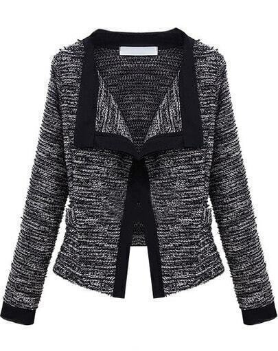 Black Long Sleeve Knit Crop Cardigan