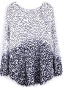 Black Gradients Long Sleeve Loose Mohair Sweater
