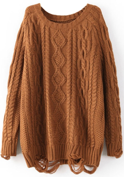 Coffee Long Sleeve Ripped Cable Knit Sweater -SheIn(Sheinside)