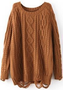 Coffee Long Sleeve Ripped Cable Knit Sweater