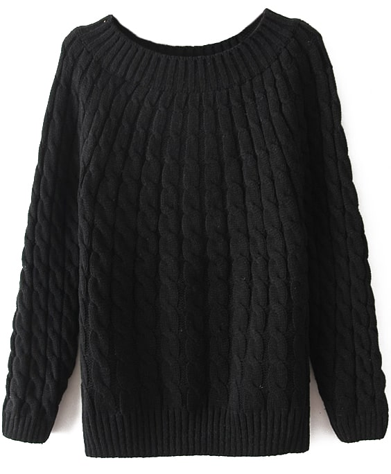 Black Long Sleeve Loose Cable Knit Sweater -SheIn(Sheinside)