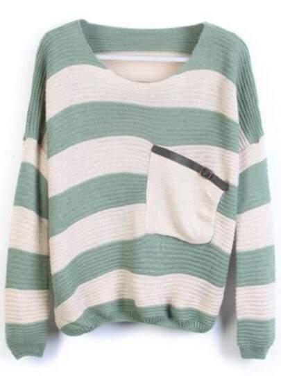 Green Stripes Loose Sweater with Pocket