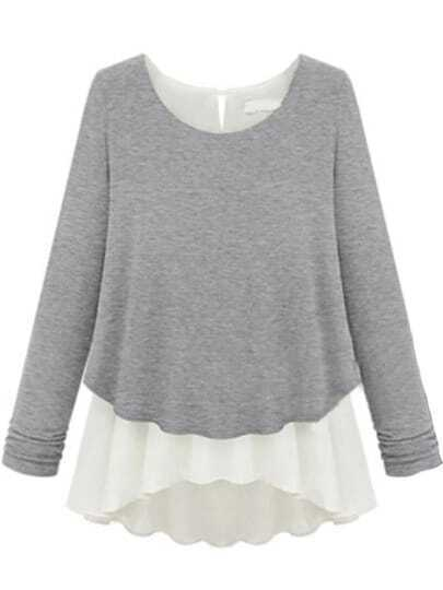 Grey Long Sleeve Ruffles Chiffon T-shirt