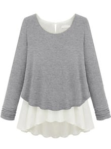Grey Long Sleeve Ruffles Chiffon Sweater