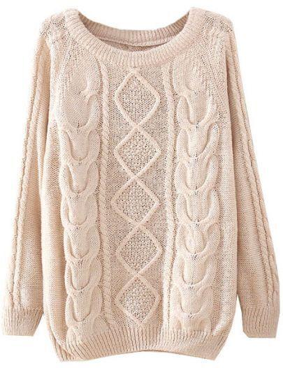Beige Long Sleeve Diamond Patterned Knit Sweater