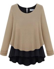 Khaki Long Sleeve Ruffles Chiffon Sweater