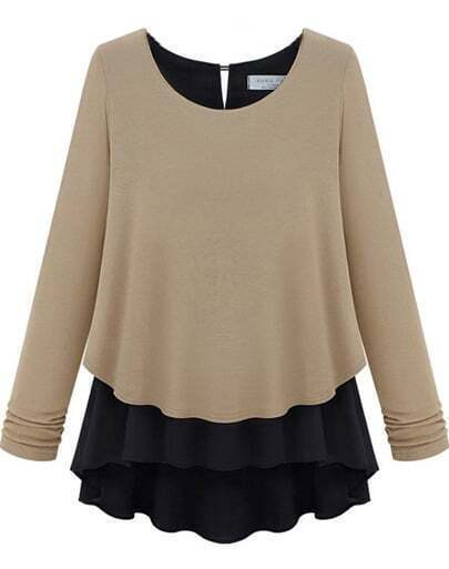 Khaki Long Sleeve Ruffles Chiffon Sweater