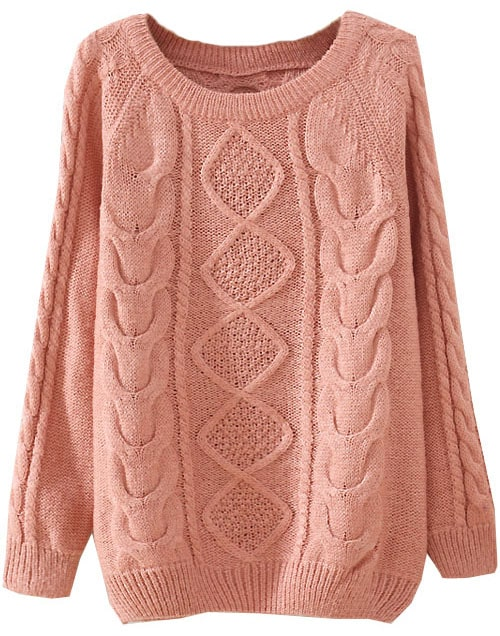 Pink Long Sleeve Diamond Patterned Knit Sweater -SheIn(Sheinside)