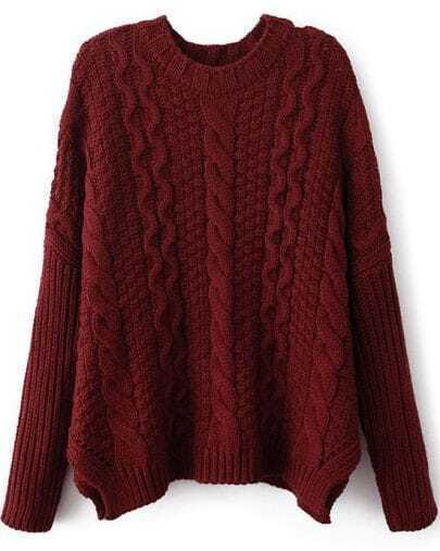Wine Red Long Sleeve Cable Knit Loose Sweater