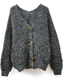 Grey V Neck Long Sleeve Pockets Knit Cardigan