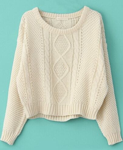 Beige Long Sleeve Cable Knit Pullover Sweater