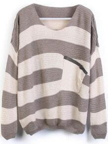 Grey Stripes Loose Sweater with Pocket