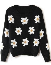 Black Long Sleeve Sunflower Pattern Knit Sweater