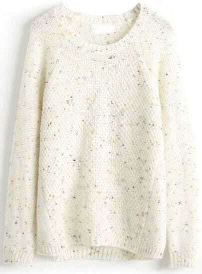 White Long Sleeve Diamond Patterned Loose Sweater