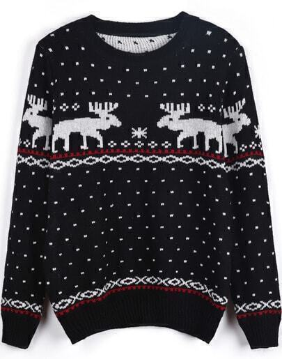 Black Long Sleeve Polka Dot Deer Pattern Sweater