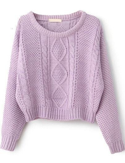 Purple Long Sleeve Cable Knit Pullover Sweater