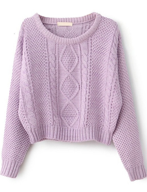 Purple Long Sleeve Cable Knit Pullover Sweater -SheIn(Sheinside)