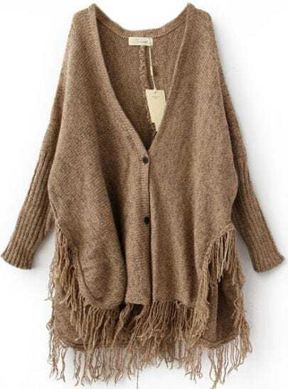 Coffee Batwing Long Sleeve V-neck Tassel Hem Cardigan