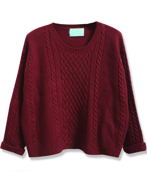Wine Red Batwing Long Sleeve Cable Knit Sweater -SheIn(Sheinside)
