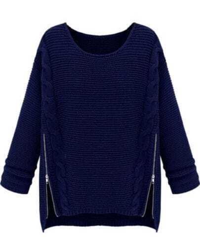 Navy Long Sleeve Side Zipper Cable Knit Sweater