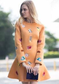 Orange Long Sleeve Animal Embroidered Ruffle Dress