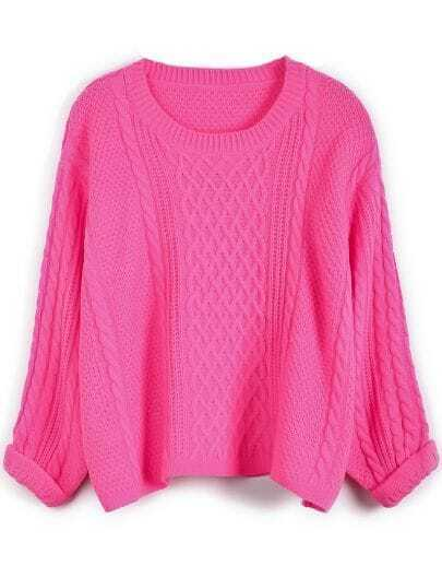Rose Red Long Sleeve Cable Knit Crop Sweater